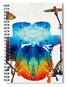 Drum Set Art - Color Fusion Drums - By Sharon Cummings Spiral Notebook