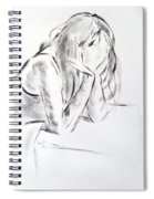 Dry Brush Painting Of A Young Womans Face Spiral Notebook