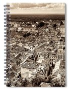 Dubrovnik Rooftops And Lokrum Island Against The Dalmatian Adriatic Sepia Spiral Notebook