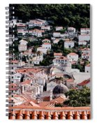 Dubrovnik Rooftops Domes And North East Walls Against The Mountains From The Sea Walls Spiral Notebook