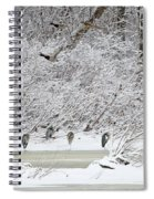 Duck Fly Over Herons On Maumee River Spiral Notebook