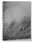 Dusted Flatirons Low Clouds Boulder Colorado Bw Spiral Notebook