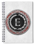 E - Silver Vintage Monogram On White Leather Spiral Notebook