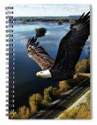 Eagle Over Mississippi  Spiral Notebook