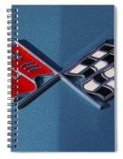 Early C3 Corvette Emblem Blue Spiral Notebook