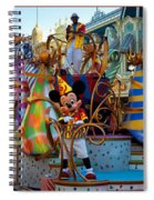 Early Morning Main Street With Mickey Walt Disney World 3 Panel Composite Spiral Notebook