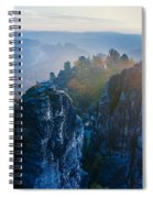 Early Morning Mist At The Bastei In The Saxon Switzerland Spiral Notebook