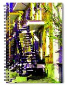 Early Spring Stroll City Streets With Spiral Staircases Art Of Montreal Street Scenes Carole Spandau Spiral Notebook