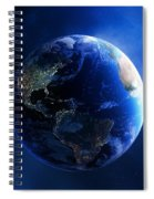 Earth And Galaxy With City Lights Spiral Notebook