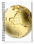 Earth In Gold Metal Isolated On White Spiral Notebook