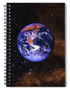 Earth In Space With Gaseous Nebula And Spiral Notebook