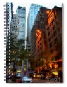 East 44th Street - Rhapsody In Blue And Orange Spiral Notebook