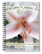 Easter Greeting Card - White Lily With Quote Spiral Notebook