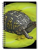 Eastern Box Turtle On Yellow Lily Spiral Notebook