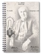 Edison And Electric Lamp Patent Spiral Notebook
