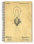 Edison Light Bulb Patent Art Spiral Notebook