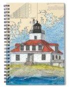 Egg Rock Lighthouse Me Nautical Chart Map Art Spiral Notebook