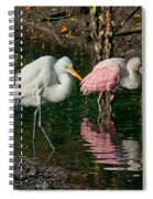Egret And Pink Spoonbill Spiral Notebook