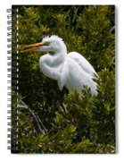 Egret In Bushes Spiral Notebook