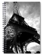 Eiffel Tower In Black And White. Ominous Sky Overhead Spiral Notebook