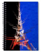 Eiffel Tower In Red On Blue  Abstract  Spiral Notebook
