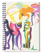 Elephant In Color Ecru Spiral Notebook