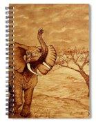 Elephant Majesty Original Coffee Painting Spiral Notebook
