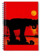 Elephant Silhouette African Sunset Spiral Notebook