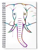 Elephant Watercolors - White Background Spiral Notebook