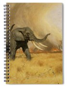 Elephants Moving Before A Fire Spiral Notebook