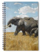 Elephants On The Move Spiral Notebook