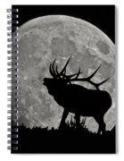 Elk Silhouette On Moon Spiral Notebook