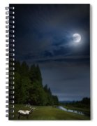 Elk Under A Full Moon Spiral Notebook