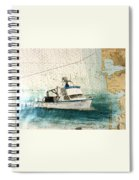 Elly Crab Fishing Boat Nautical Chart Map Art Spiral Notebook