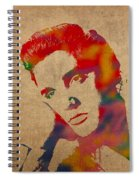 Elvis Presley Watercolor Portrait On Worn Distressed Canvas Spiral Notebook