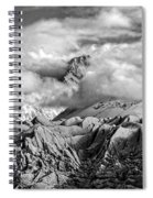 Embraced By Clouds Black And White Spiral Notebook