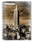 Empire State Building Blimp Docking Sepia Spiral Notebook