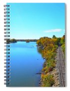 Empty Train Tracks Of Rockford On The Rock River With Fall Colors Spiral Notebook