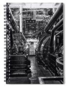 Engine Room Queen Mary 02 Bw 01 Spiral Notebook