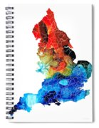 England - Map Of England By Sharon Cummings Spiral Notebook