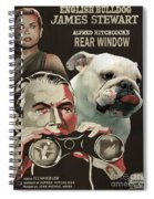 English Bulldog Art Canvas Print - Rear Window Movie Poster Spiral Notebook