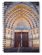 Entrance To The Barcelona Cathedral At Night Spiral Notebook