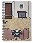 Essence Of Home - Black And White Cat In Living Room Spiral Notebook