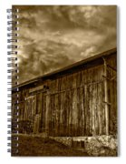 Evening Barn Sepia Spiral Notebook