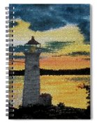 Evening Lighthouse In Stained Glass Spiral Notebook