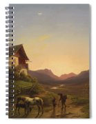 Evening Mood In Front Of A Wide Landscape With Horses Spiral Notebook