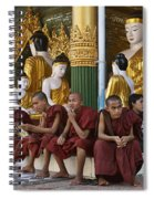 faithful Buddhist monks siiting around Buddha Statues in SHWEDAGON PAGODA Spiral Notebook