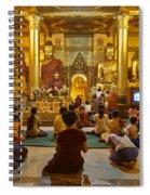faithful Buddhists praying at Buddha Statues in SHWEDAGON PAGODA Yangon Myanmar Spiral Notebook
