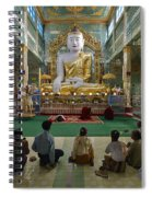 faithful Buddhists praying at sitting Buddha in golden Ponnya Shin Pagoda Spiral Notebook