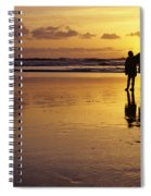 Family On Beach With Dog Sunset Spiral Notebook